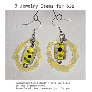 Artisan Glass Drop Earrings On .925 Stamped Wires